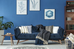 Old style room. Spacious blue living room designed in old style Stock Photo