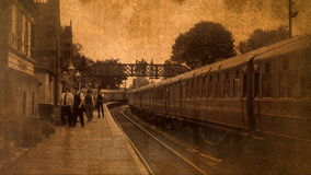 Old style shot of platform with traditional carriages 4K stock footage