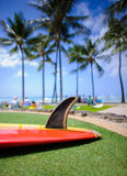 Old style single fin surfboard,waikiki. Old style single fin surfboard on waikiki beach on oahu,hawaii Stock Image