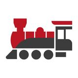 Old style steam engine locomotive icon  on white. Stock Images