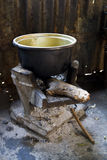 Old style stove and pot Stock Image