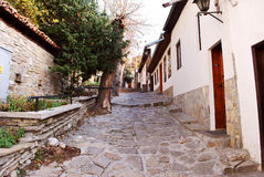 Old style street and houses. City street with old style houses Veliko Turnovo Bulgaria Stock Photo
