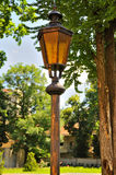 Old style street lamp. Lamp street lighting on the background of trees Royalty Free Stock Photo