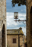 Old-style street lamp in medieval city Royalty Free Stock Photo