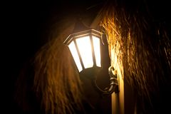 Old style street lamp at night Royalty Free Stock Image