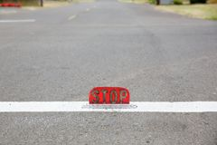 Old style street level stop sign Stock Photo