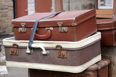 Old style suitcases. Outdoors at Watchet train station Royalty Free Stock Image