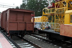 Old style train in railroad Stock Photography