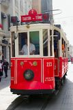 Old style tram move on Taksim Istiklal street 08 sept 2013. Stock Images
