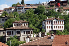 Old style Turkish konak country houses on a tree covered hillsid Royalty Free Stock Photo