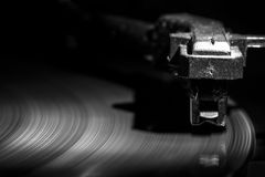 Old style turntable, close-up of a needle Royalty Free Stock Photo