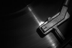 Old style turntable, close-up of a needle Royalty Free Stock Image