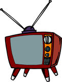 Old Style TV Set. Old TV Set with rabbit ears vector illustration