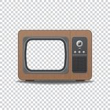 Old style TV. Old vintage TV-set. Realistic retro tube TV with wooden texture and shadows. Empty, blank screen with transparency for inserting image. Template stock illustration