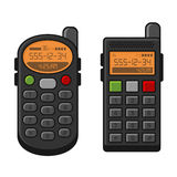 Old Style Vintage Mobile Phone Set. Telephone with Buttons. Vector Royalty Free Stock Photography