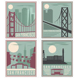 Old style vintage retro posters San Francisco landmarks Royalty Free Stock Image