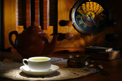 Free Old Style Vintage Tea Time With Antique Radio Royalty Free Stock Photography - 17799167