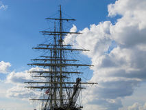 Old Style Vintage Three Masts Clipper Ship Stock Photography