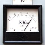 Old style voltmeter gauge. Horizontal shot stock photo