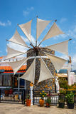 Old-style windmills used as touristic attraction on Lasithi Plateau Royalty Free Stock Photos