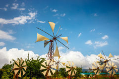 Old-style windmills used as touristic attraction on Lasithi Plateau Stock Image