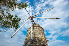 Old-style windmills used as touristic attraction on Lasithi Plateau Stock Photography