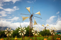 Old-style windmills used as touristic attraction on Lasithi Plateau Stock Images