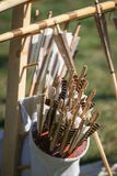 Old style wooden arrows in the case. Of an archer Royalty Free Stock Photos