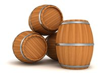 Old style wooden barrels on white background Stock Photo