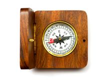 Old style wooden compass Royalty Free Stock Image