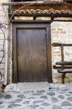 Old style wooden door entrance Stock Photo