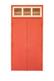 Old style wooden door in red color isolated on white Royalty Free Stock Photo