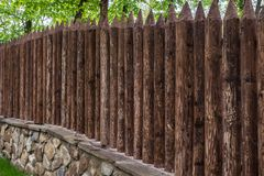 Old-style wooden fence. View of old-style wooden fence royalty free stock image