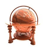 Old style wooden globe, isolated over white Royalty Free Stock Photography