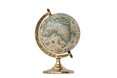 Old Style World Globe - Isolated on White. Antique world globe isolated on white background.  Studio close up.  Showing Africa and some of Middle East Royalty Free Stock Image