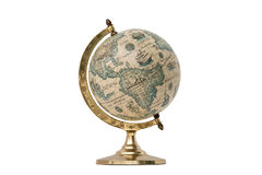 Old Style World Globe - Isolated on White. Antique world globe isolated on white background.  Studio close up.  Showing North America and South America Stock Image