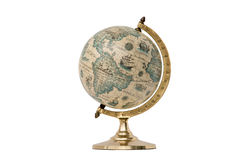 Old Style World Globe - Isolated on White. Antique world globe isolated on white background. Studio close-up. Showing North America and South America royalty free stock image