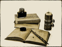Old style writing set  with a candle Stock Photo