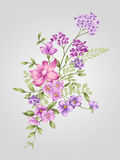 Old styled 006. Beautiful flower bouquet design-Simple background Royalty Free Stock Images