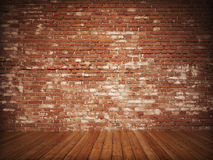 Old Styled brick interior. With wood flooring Stock Photo
