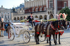 Old-styled carriage in Krakow Royalty Free Stock Photos