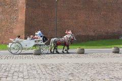 Old-styled horse cab near Wawel Royal Castle, Krakow, Poland stock photos