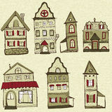 7 old styled houses. Can be used as designed elements stock illustration