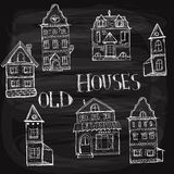 7 old styled houses. Drawn with white chalk on blackboard, fully editable eps 10 file with transparency effects, hand written text vector illustration