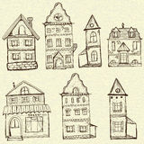 7 old styled houses. In retro doodle style stock illustration