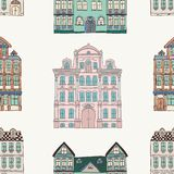 Old Styled Houses Seamless Pattern. Colorful Old Styled Hand Drawn Doodle Houses Seamless Background Pattern. Vector Illustration vector illustration