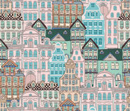 Old Styled Houses Seamless Pattern Royalty Free Stock Images