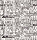 Old Styled Houses Seamless Pattern Stock Images