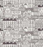 Old Styled Houses Seamless Pattern. Vintage Old Styled Hand Drawn Doodle Houses Seamless Background Pattern. Vector Illustration stock illustration