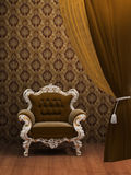 Old Styled Interior. Armchair in Old Styled Interior Stock Photos